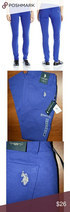 US Polo Royal Super Stretch Skinnies NWT These high quality knit skinnies are amazingly comfortable! They are a rich royal purple/blue and have the embroidered US Polo logo on your right back pocket.  Made of 69% cotton, 26% polyester and 5% spandex. U.S. Polo Assn. Pants Skinny