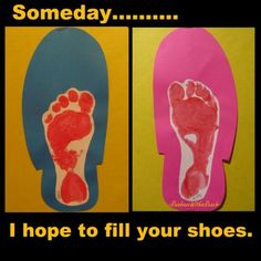 A great keepsake using a tracing of dad's shoe with child's footprint. So sweet!