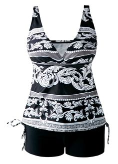 Printed V Neck Open Back Drawstring Side Tankini on sale only US$27.70 now, buy cheap Printed V Neck Open Back Drawstring Side Tankini at liligal.com