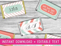 Printable Mini Candy Wrappers (coral And Mint Wedding Decor, Mint And Coral Baby…