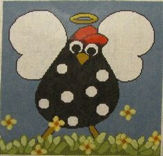 Pocket Full of Stitches: Destination Dallas !! HOLY CLUCK !! Whimsical Chicken Angel Hand Painted   Needlepoint Canvas by Annie Lane  http://www.wellesleyneedlepoint.com/ExclusiveDesigns-AnnieLaneDesigns2.shtml