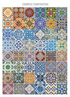 Portuguese Tiles Patterns V2 48 Tiles Decals by homeartstickers