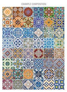 Portugais Carreaux Motif V2 48 stickers pour par HomeArtStickers