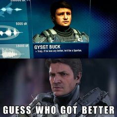 Wait is he actually a spartan in Halo I didn't know he was in Halo I want that game, too bad I'm getting a instead. I just prefer Bloodborne to Halo. Gamer Humor, Gaming Memes, Halo Game, Halo 5, Unsc Halo, Halo Funny, John 117, Halo Armor, Halo Master Chief