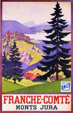 Franche-Comté, Monts du Jura - VINTAGE POSTER BANK - thème Montagne - reproduction numérique d'affiche ancienne Vintage Railway Travel Poster -  Franche-Comté -  Monts Jura - France.