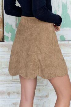 Lucille Mae: Francesca's Fargo Faux Suede Scalloped Skirt