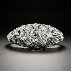 Art Deco Diamond Three Stone Ring - Antique Engagement Rings ~ Vintage Engagement Rings - Engagement