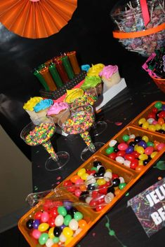 Neon candy at a girl birthday party!  See more party planning ideas at CatchMyParty.com!