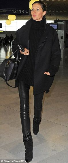 chunky knit + big coat + leather pants + booties