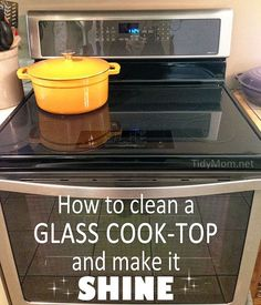 A detailed how-to on cleaning your glass cooktop with hot soapy water and baking soda to make it shine.