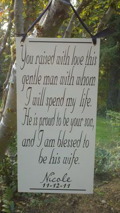 Mother of the Groom Gift, on ivory board. This is sure to bring happy tears, Wedding Sign -$42.95