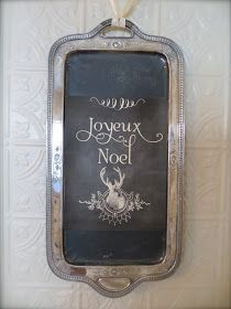 Silver Plated Tray Idea - painted with chalkboard paint. This is such a great idea!