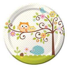 Happi Tree Owl Baby Shower Paper Lunch Plates