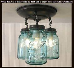 Vintage Blue Mason Jar Ceiling Lighting Fixture Trio SALE $195