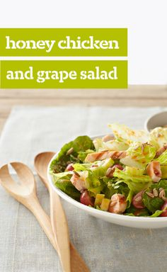 Honey Chicken and Grape Salad — Chicken strips, grapes and celery are marinated in honey-and-orange-flavored salad dressing then tossed with lettuce for a tasty main-dish salad.