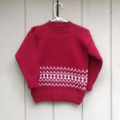 ba5940738515f6 Childs red sweater - 6 to 7 years - Kids Fair Isle sweater - Child s red  pullover - Boys hand knit - Girls red sweater