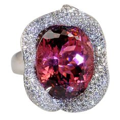 """40.69 Carat Afgani Rubellite Tourmaline """"Calla Lily"""" Ring 
