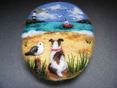 Handmade needle felted brooch 'Scruff and Gilbert's Beach Day' by Tracey Dunn