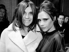 CARINE ROITFELD and VICTORIA BECKHAM after Victoria Beckham F/W 2013 show, New York. Photo Stéphane Feugère