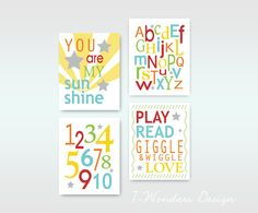 "Childrens Kids Love and Learning Wall Art Prints // Orange, Yellow, Blue, Red, Green // Set of (4) 11"" x 14"" - Kids Bedroom Nursery Playroom. $68.00, via Etsy."