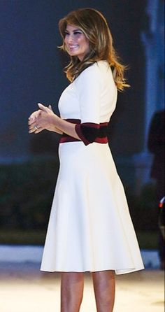FLOTUS Melania Trump celebrates the Super Bowl at Mar-a-Lago in Palm Beach, Florida on February 🏈 Outfit Essentials, Elegant Dresses Classy, Classy Dress, Office Outfits Women, Woman Outfits, Trump Is My President, Night Club Outfits, Church Attire, First Lady Melania Trump