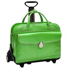 McKleinUSA LAKEWOOD 96611 Green Leather Fly-Through(TM) Checkpoint-Friendly Detachable-Wheeled Ladies' Briefcase