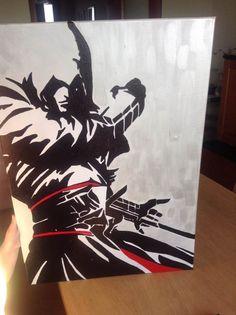 ASSASSIN'S CREED, tela misura cm. 70X50, creo su commissione, tutto dipinto a mano, firmato e numerato sul retro visita la mia pagina: www.facebook.com/HoneyEli75