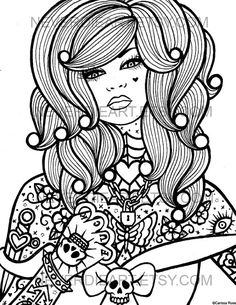 digital download print your own coloring book outline page hard candy 4 by carissa rose - Rose Coloring Pages Teenagers