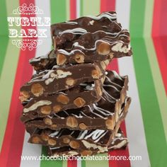 TweetTurtle Bark-Chocolate, Pecans and Caramel all come together in this easy to make Bark. I love a good Turtle. Chocolate, soft caramel, pecans. Just the perfect combination. I've made them a few times but it takes time, especially when you're making homemade caramelsas the base. The results are worth every minute of time spent but …
