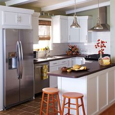 An ideal kitchen island is easily accessible so guests can hang out without hindering the cook. Guests will also appreciate that it's easy for those at the island to grab snacks or beverages from the fridge.