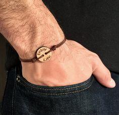 Enjoy Life Wooden Men's Message Charm Friendship by IzouBijoux Wooden Man, Bracelets For Men, Thoughtful Gifts, Friendship Bracelets, Take That, Charmed, Unisex, Brown, Life