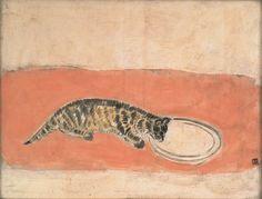 常玉 SANYU|作品 Works, Kitten drinking milk, 1930's, oil on board