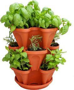 3 X Strawberry Planter Trio Pot Stacking Herb Flower Trendy Terracotta BROWN