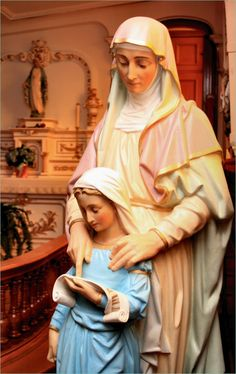 Beautiful statues of Saint Anne & her daughter Mary, mother of us all. St. Ann is the patron saint of grandmothers.