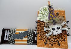 Stampin' Up Mini Treat Bag Thinlits Die Death by Chocolate created by Lynn Gauthier using SU Mini Treat Bag Thinlits Die, SU Howl-o-ween, Sweet Hauntings and Witches' Night Stamp Sets. Go to lynnslocker.blogs... to see the details and instructions for this project.