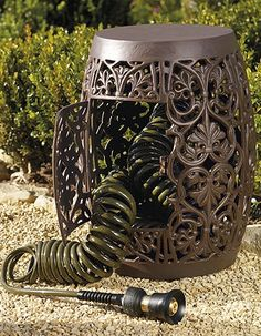 Hose Storage Garden Stool - contemporary - outdoor stools and benches - FRONTGATE