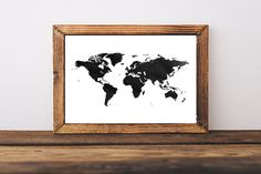 World Map Watercolor Art Print Instant by SweetPrintTypography