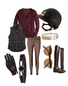 """""""WEF Prep in Brown"""" by crs-equestrian ❤ liked on Polyvore featuring J.Crew, Roeckl Sports, Hermès and Ray-Ban"""