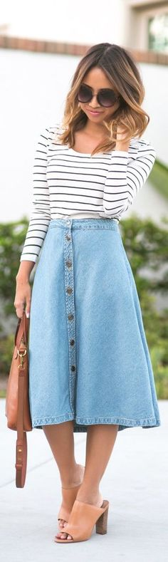 Midi Jeans Rock kombinieren - Cocktail dress new Modest Outfits, Modest Fashion, Casual Outfits, Cute Outfits, Skirt Fashion, Jeans Fashion, Fashion Flats, Fashion Dresses, Moda Petite
