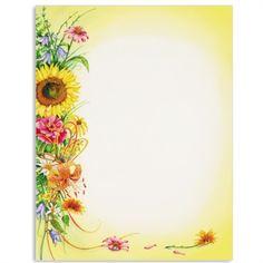 Summer Bouquet Letter Paper | Idea Art Sunflowers Background, Paper Sunflowers, Sunflowers And Daisies, Flower Background Wallpaper, Frame Background, Flower Backgrounds, Boarder Designs, Page Borders Design, Stationary Printable