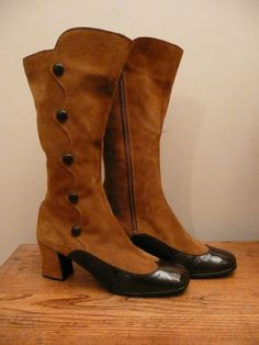 Vintage 1960s 1970s Boots Suede and Patent by CreatedAndCollected, $64.00