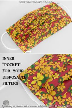 """* Orange & Yellow Flowers on Red Face Mask by #Gravityx9 at Society6 * Machine-washable * Non-medical, Pleated, dual layer construction for snug fit * Includes an inner """"pocket"""" for disposable filters * This design is available on stickers, fashion, home decor and more! * cloth mouth cover * cloth mouth mask * travel supplies * floral Mouth mask * face mask * floral mouth cover * #mouthmask #facemask #mask #travelsupplies #clothmask #mouthcover #red #floral #floralmask 0820"""