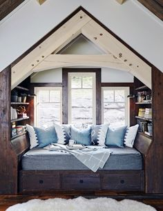 If Our Home Looked Like This Catskills Winter Lodge, We'd Never Leave - Tour a rustic, industrial winter lodge in upstate New York that might be the ski home of our dreams - Bedroom Reading Nooks, Cozy Bedroom, Trendy Bedroom, Interior Exterior, Interior Design, Interior Stylist, Winter Lodge, Bedroom Minimalist, Decor Scandinavian