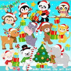 Jolly Christmas Animals Clipart Set by 1EverythingNice on Etsy