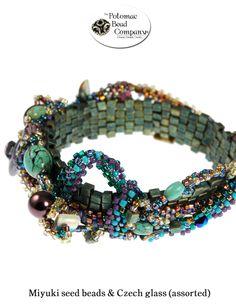 Freeform peyote bracelet from The Potomac Bead Company  http://www.potomacbeads.com