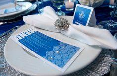 Modern Blue Menu Card with Place card