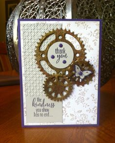 Jan Clothier: Scrapbooking Stuff: PPA240 and JAI251 - 2/21/15. (SU: Papillon Potpourri, Lotus Blooms, I Love Lace background. Spellbinders: Sprightly Sprockets dies). (Pin#1: Masculine. Pin+: Dies: Cottage Cutz).