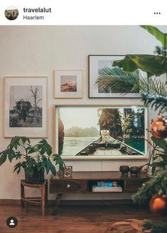 Photo Wall Layout, Black Wall Decor, Tv Decor, Home Decor, Small Space Design, Framed Tv, Living Room Tv, Black Walls, Room Colors
