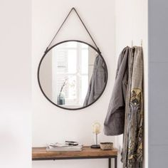 BELMONT Miroir rond  suspendre en métal avec corde D40