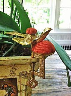 Antique Pennsylvania Dutch Ormolu Bird Sewing Clamp